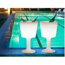 Portabottiglie - DRINK Sgabello diam.47 h.75 LACQ. GLOSSY MET.SILVER - Slide