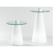 Tavoli illuminati - PEAK High Table diam.80 h.120 MATT LAQUERED ABS. WHITE - Slide