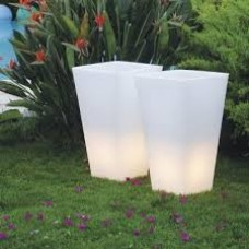 Vaso Illuminato - Vaso Y-POT 44x44 h.90 ELEPHANT GREY