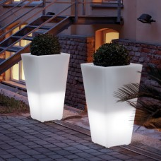 Vaso Illuminato - Vaso Y-POT 75x75 h.150 JET BLACK - Slide