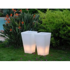 Vaso Illuminato - Vaso Y-POT 42x42 h.48 LACQ.ABS. WHITE - Slide