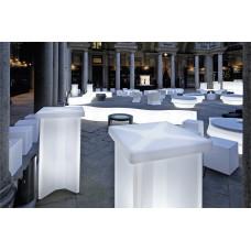 Tavoli illuminati - Tavolo X2 cm.60x60 h.110 LACQ.SIGNAL WHITE - Slide