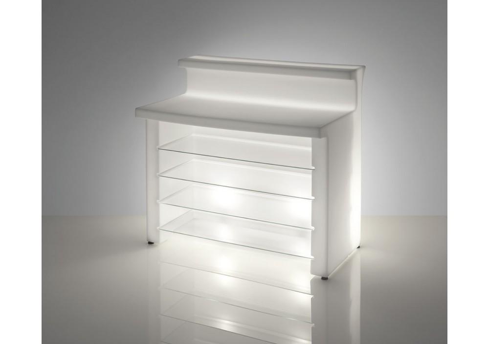 Bancone da Bar illuminato - BREAK LINE Lumin. cm.120 x 75 h.110 LIGHT WHITE - Slide