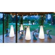 Tavoli illuminati - PEAK Table diam.70 h.120 LAQUERED ABSOLUTE WHITE - Slide