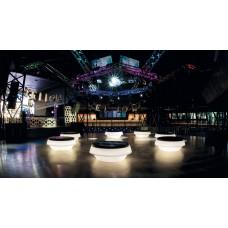 Sedie Modulari illuminate - GIO POUF. pouf LACCATO BIANCO interno diam.145 h.48 at.I2 - Slide
