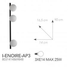 APPLIQUE ENOIRE NERO 3XE14 14X90X16,5CM - Fan Europe - I-ENOIRE-AP3