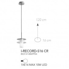 SOSPENSIONE RECORD CROMO 1XE14 16CM - Fan Europe - I-RECORD-S16 CR