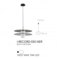 SOSPENSIONE RECORD NERO 1XE27 50CM - Fan Europe - I-RECORD-S50 NER