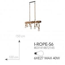 SOSPENSIONE ROPE IN CORDA 6XE27 100CM - Fan Europe - I-ROPE-S6